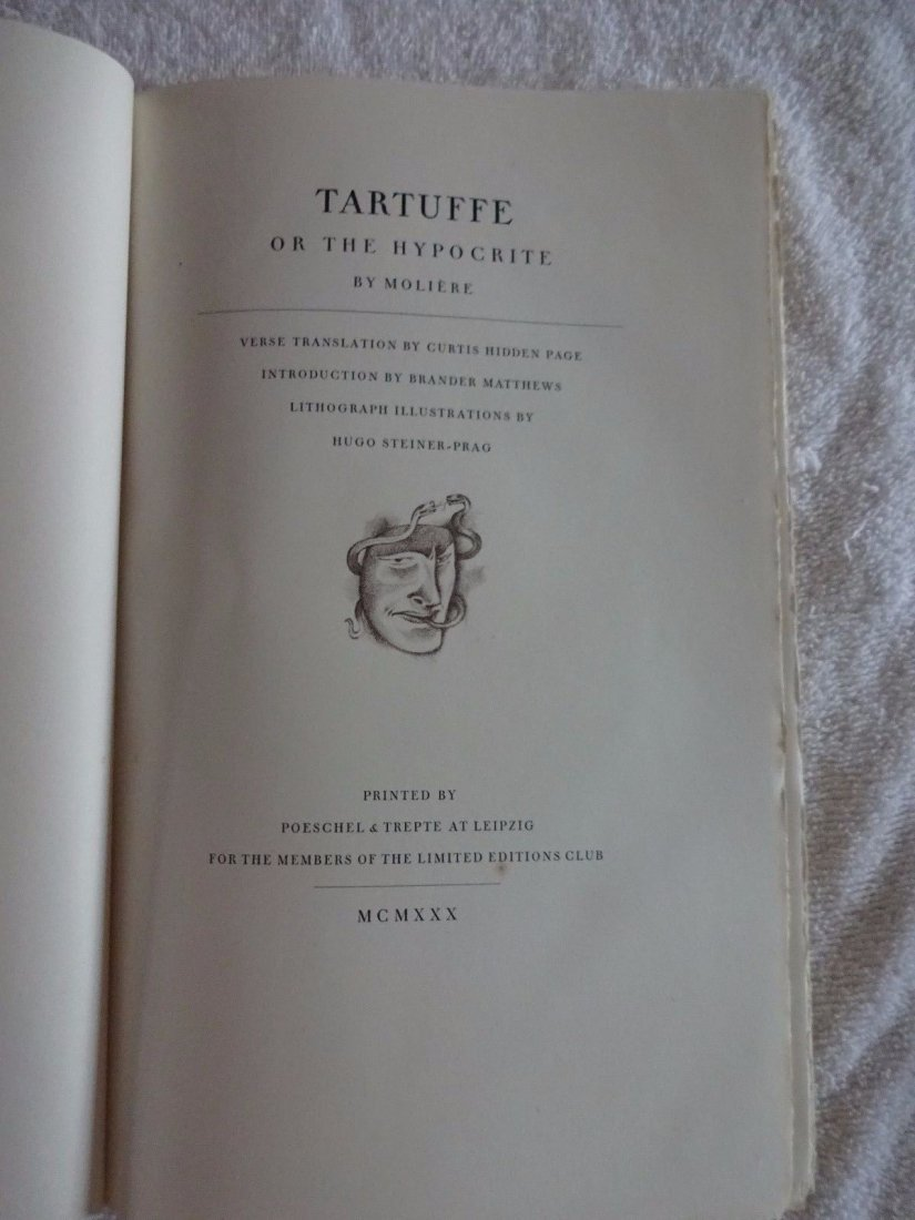 Moliere. Tartufe or The Hypocrite 1930 Signed