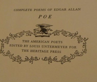 Poe.  Poems of Edgar Allen Poe. 1943. Signed