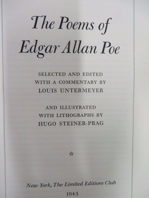 Poems of Edgar Allen Poe. LEC. 1943