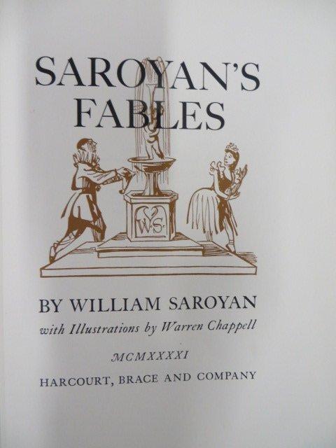Saroyan. Saroyan's Fables. Illus. 1941. First Ed.