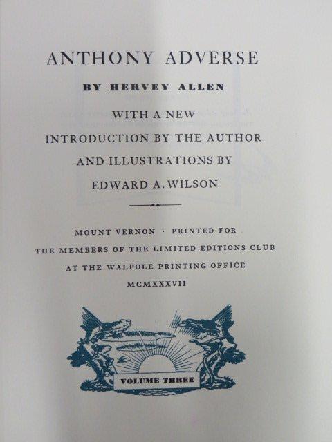 Allen Hervey.  Anthony Adverse. 1937 3 Vols.