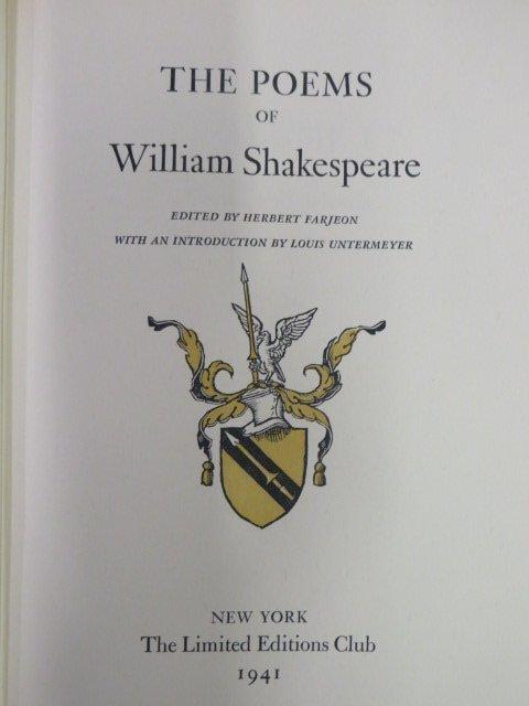 Poems of Shakespeare. Ltd. Ed. 2 Vols. LEC