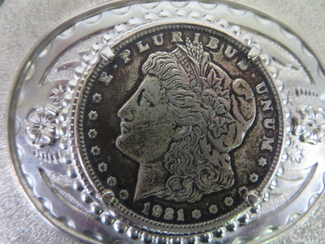 Belt Buckle. 1921 Morgan Silver Dollar - 2