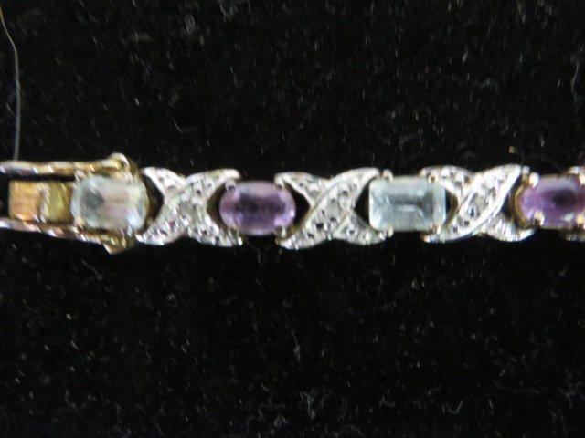 Sterling Silver Bracelet. Semi Precious Stones