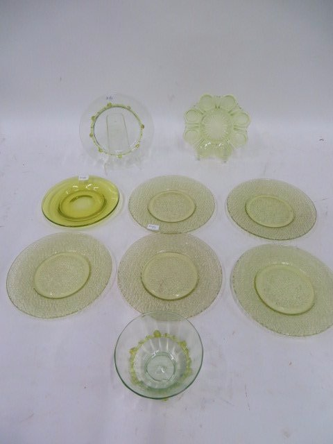 Collector's Lot of Vaseline Glass (9)