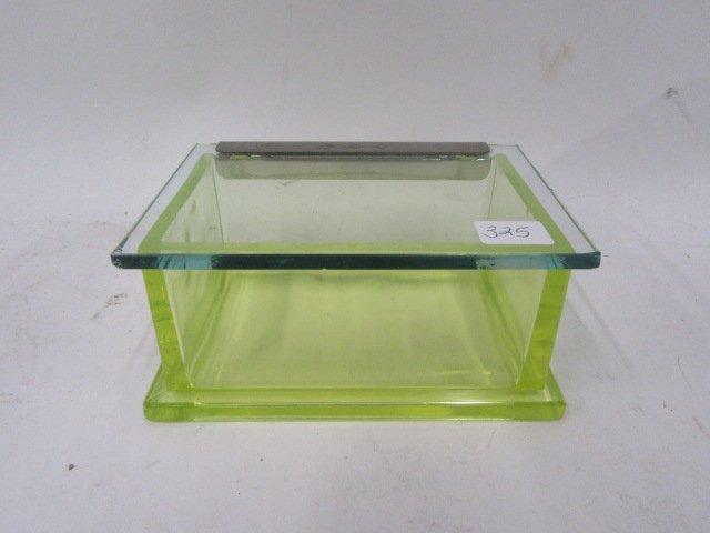 Vaseline Glass Hinged Box