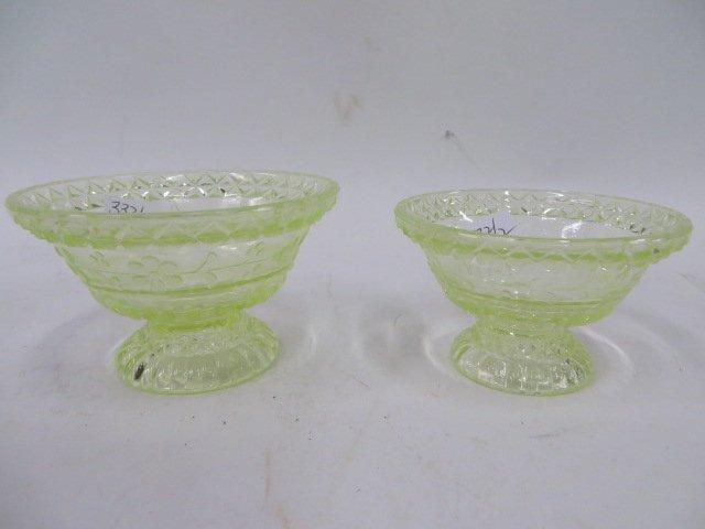 Vaseline Glass Pedestaled Bowls