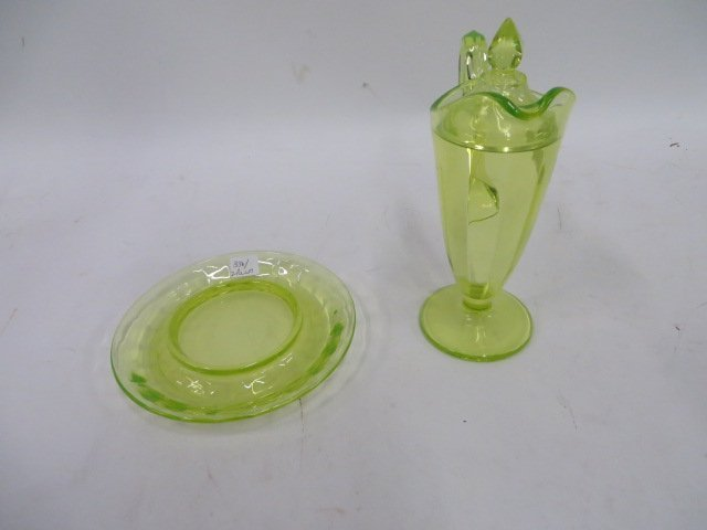 Vaseline Glass Lidded Pitcher/Underplate
