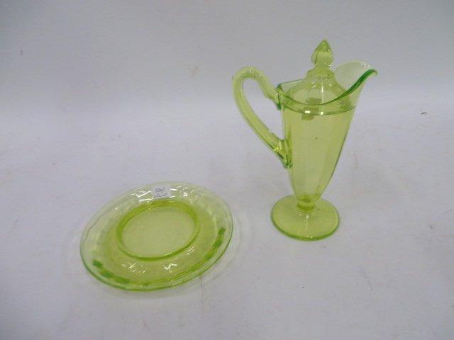 Vaseline Glass Lidded Pitcher/Underplate - 2
