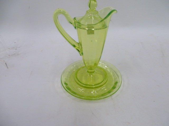 Vaseline Glass Lidded Pitcher/Underplate - 3