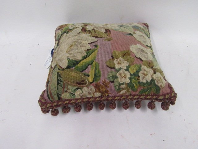 French Victorian Petit Point Pillow, C. 1870