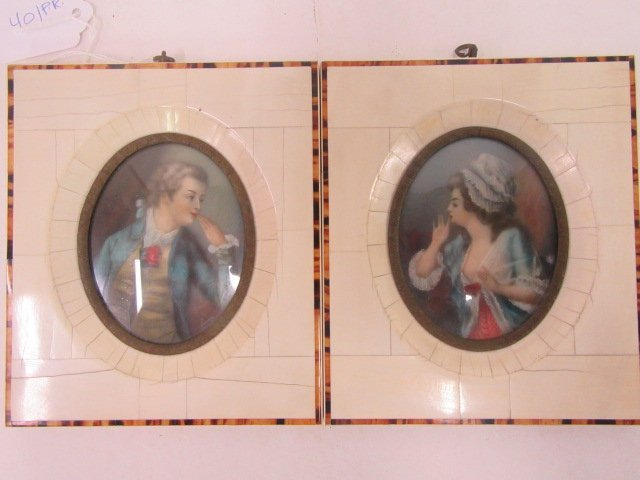 19th C. Miniature Portraits. Ivory Frames (2)