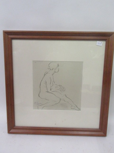 Moses Soyer. Pen and Ink. Signed