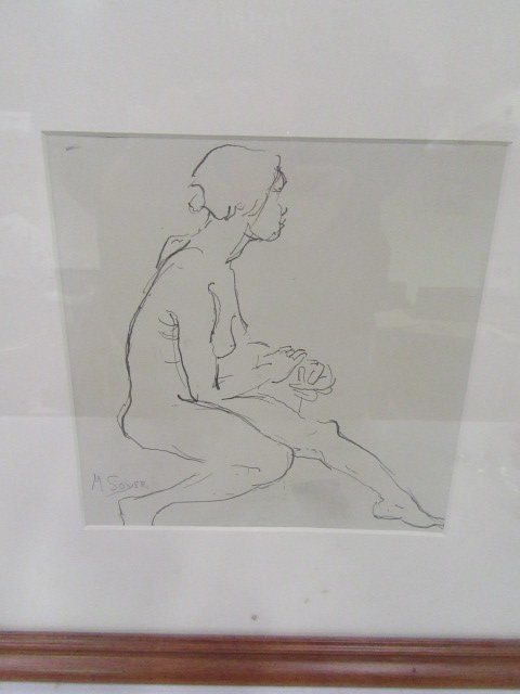 Moses Soyer. Pen and Ink. Signed - 2