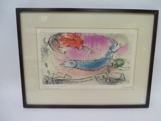 "Chagall Lithograph. ""Le Poisson Bleu"" Signed"