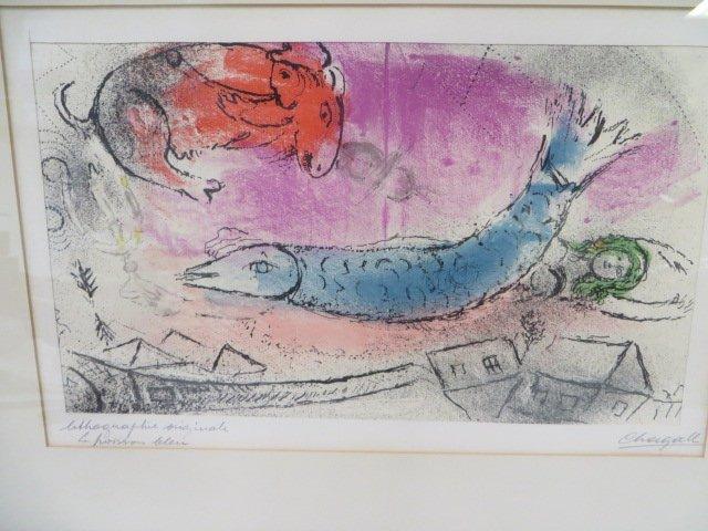 "Chagall Lithograph. ""Le Poisson Bleu"" Signed - 2"