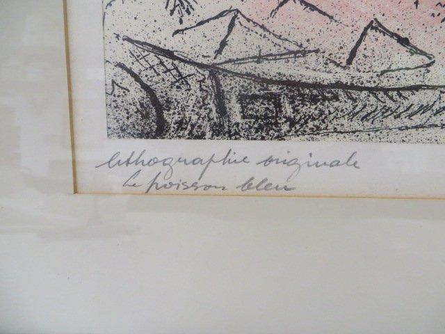 "Chagall Lithograph. ""Le Poisson Bleu"" Signed - 3"