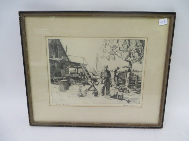 Lionel Barrymore Etching.Point Magu. Sgd.