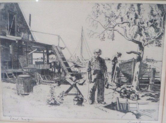 Lionel Barrymore Etching.Point Magu. Sgd. - 2