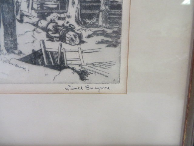 Lionel Barrymore Etching.Point Magu. Sgd. - 4