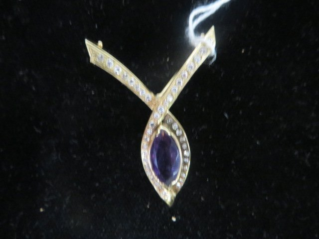 Amethyst and 14K Gold Pendant