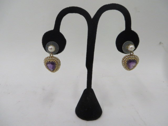 14K Gold, Amethyst and Pearl Earrings