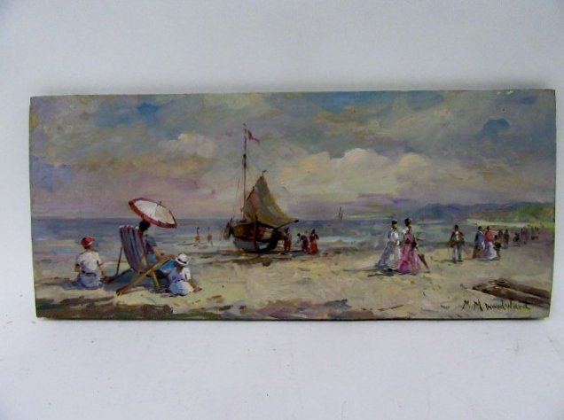 Mabel May Woodward. Oil. Beach Scene. Sgd.