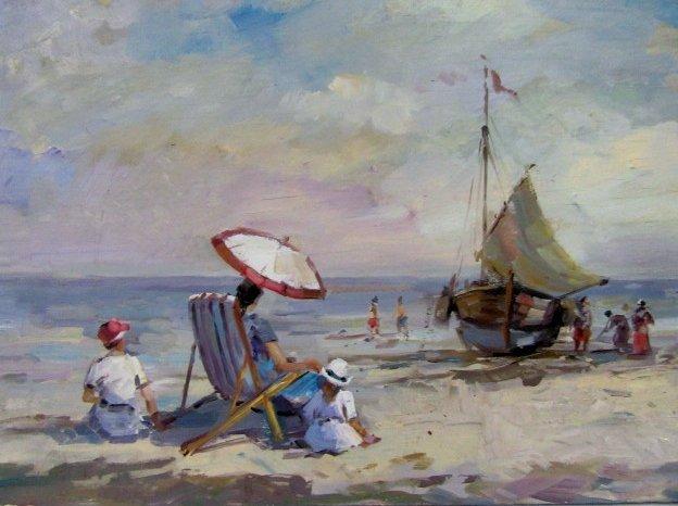 Mabel May Woodward. Oil. Beach Scene. Sgd. - 3