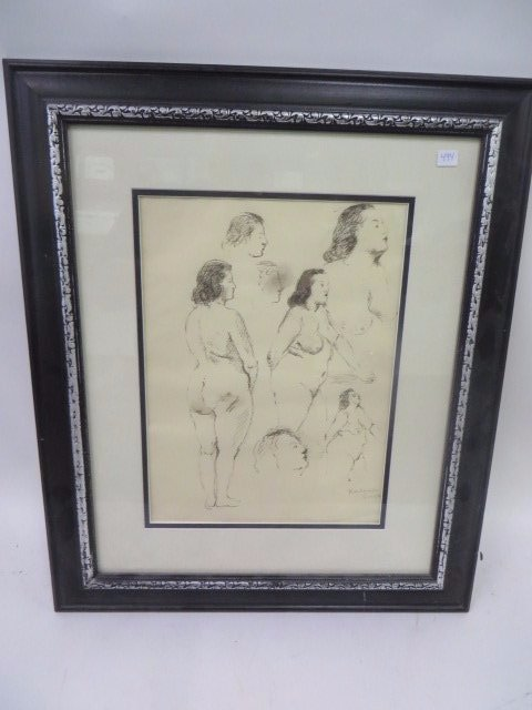 Raphael Soyer Watercolor. Nudes.Signed