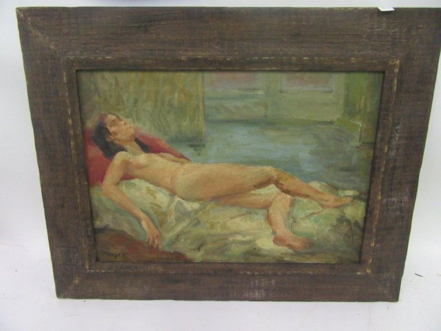 Moses Soyer. Oil. Nude. Signed
