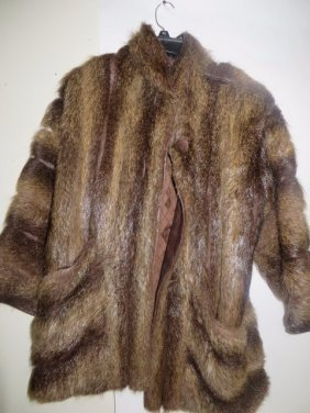 Vintage Fur Jacket with Leather Trim