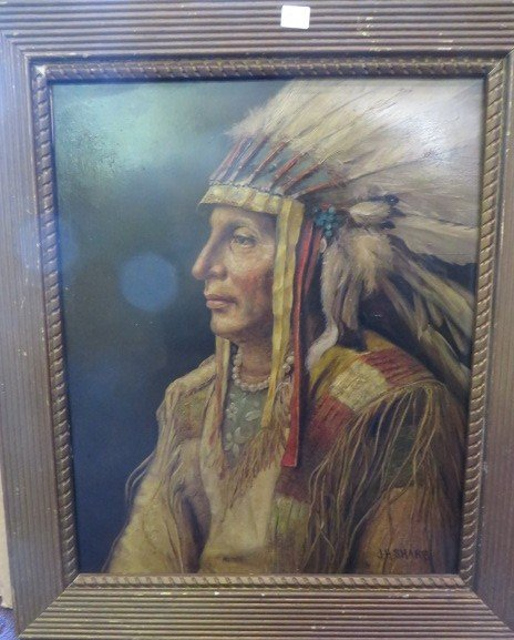 John Henry Sharp. Oil. Indian Chief. Signed
