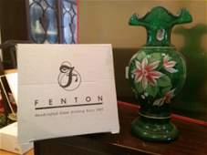 Fenton Green Vase w/ Hand Painted Flowers