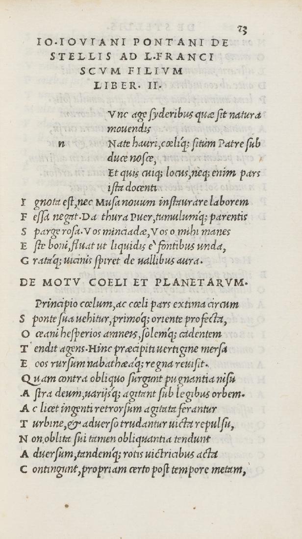 Astronomy.- Pontanus (Johannes Jovianus), Opera,
