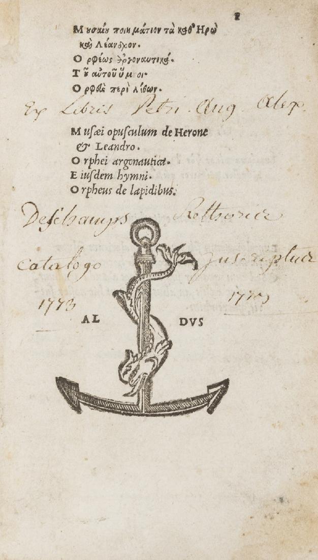 Orphic Forgeries.- Musaeus. Musaei opusculum de Herone