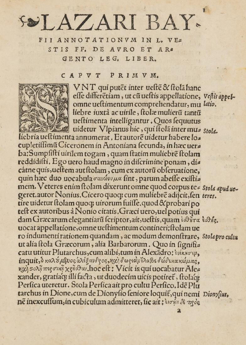 Baïf (Lazare de) Annotationum in L. Vestis, ff. de