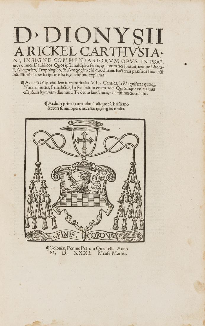 Dionysius Carthusianus. Insigne Commentariorum opus, in