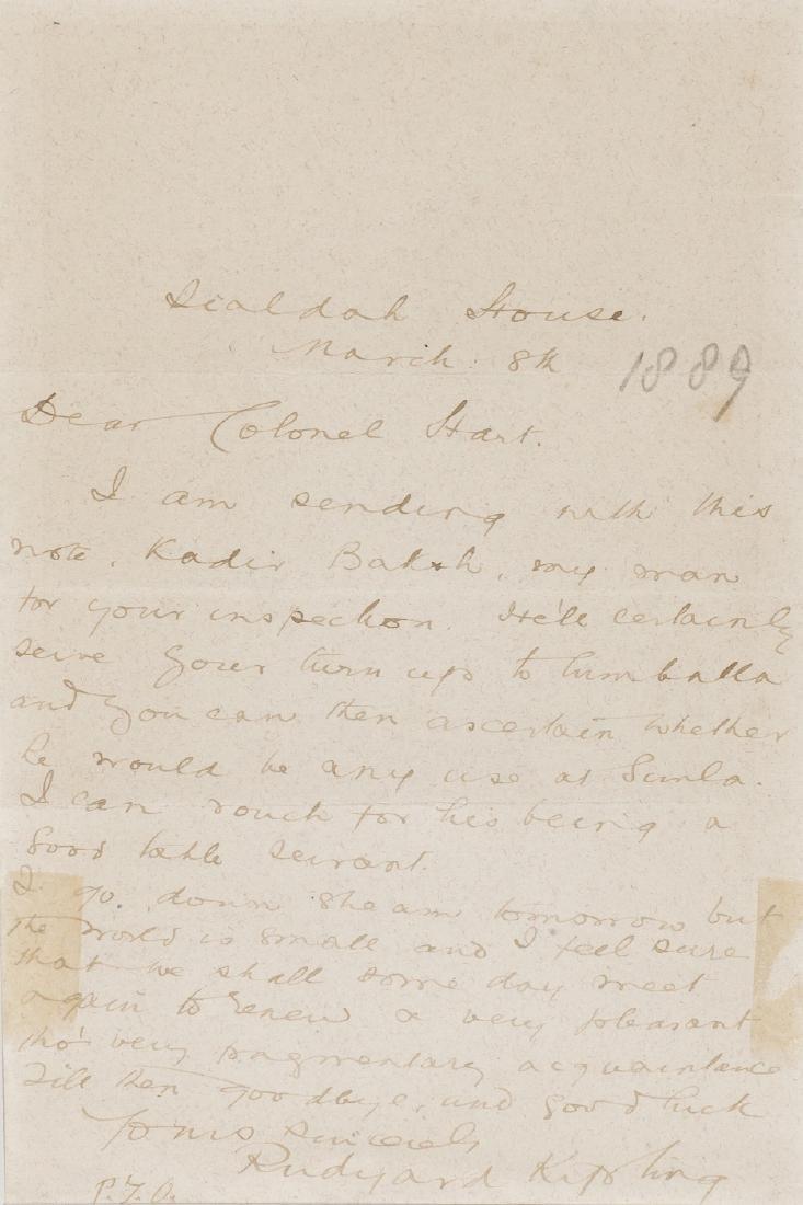Kipling (Rudyard), Autograph Letter signed, 1889; and 2