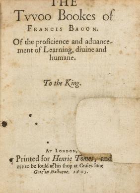 Bacon (Sir Francis) The Tvvoo Bookes of Francis Bacon.