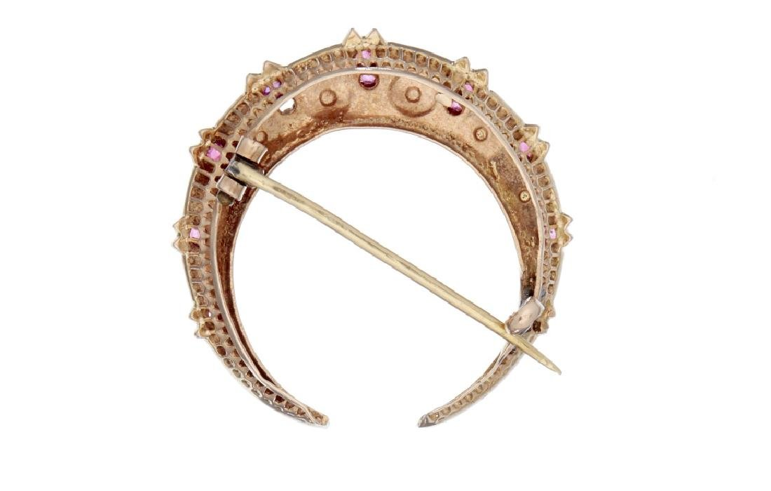 A late 19th century half pearl and ruby crescent brooch - 2