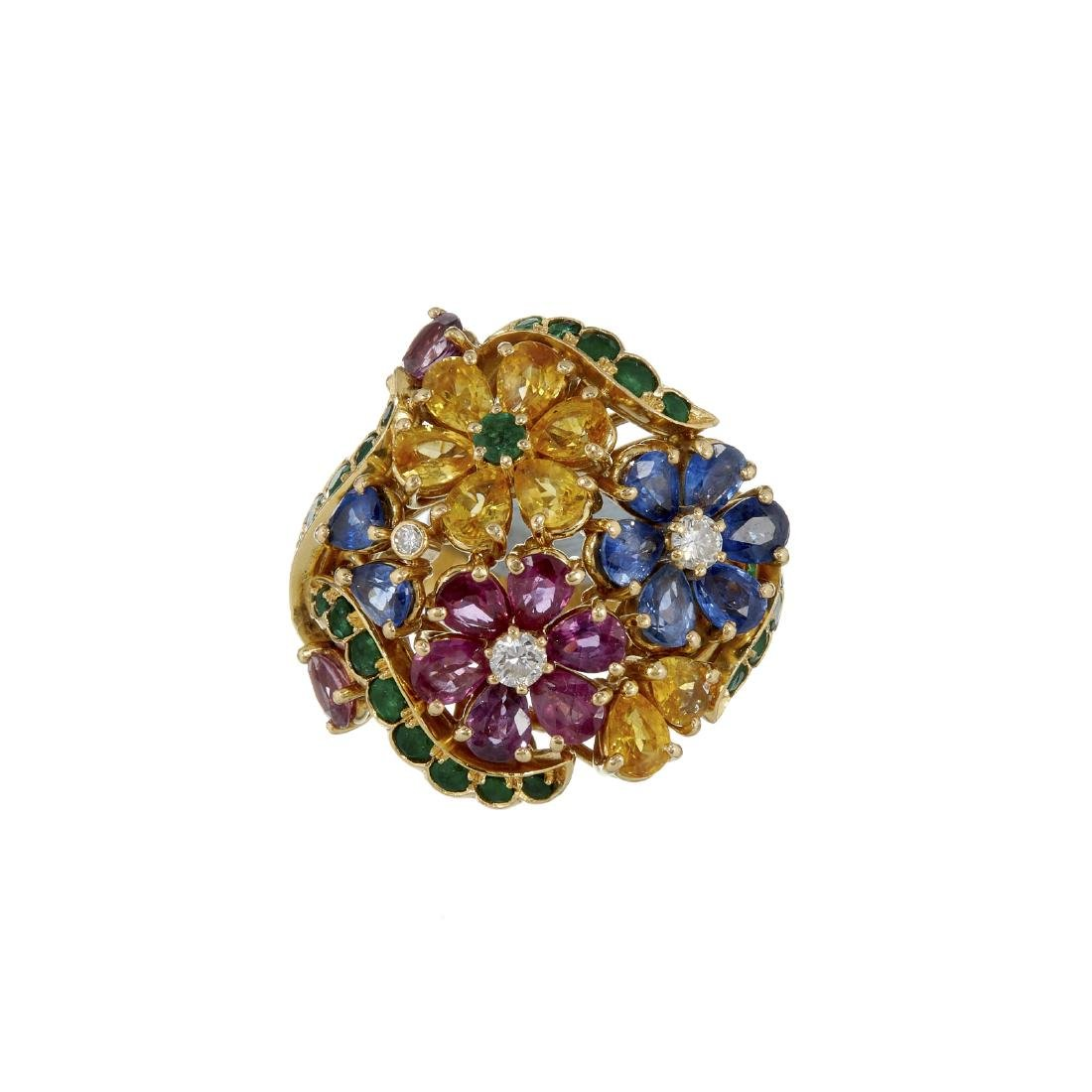 A multi gem set dress ring
