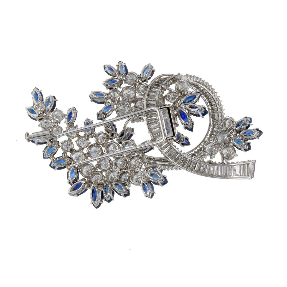 A sapphire and diamond spray brooch - 2