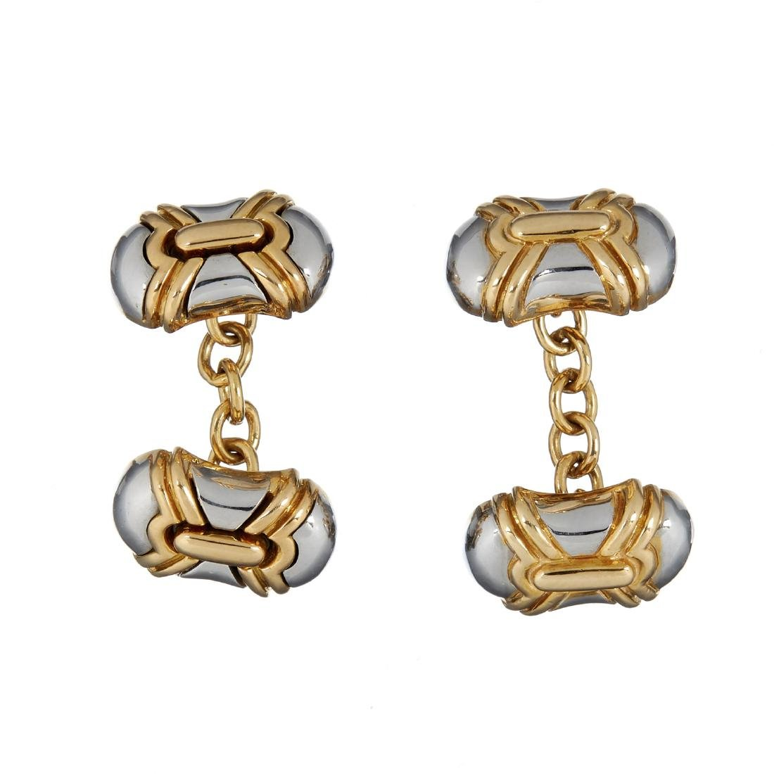 A pair of two colour cufflinks by Bulgari