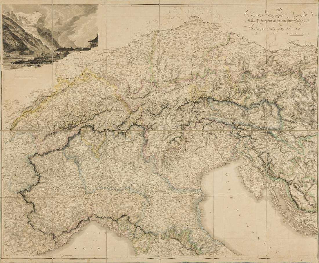 Alps.- Arrowsmith (Aaron) Map of the Alpine Country in