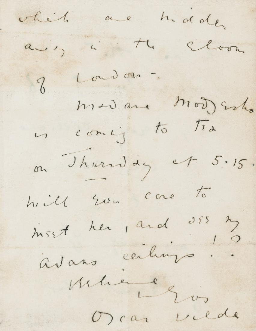Wilde (Oscar) Autograph Letter signed, fragment, 2pp.