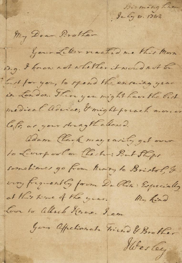 Wesley (John) Autograph Letter signed, 1782.