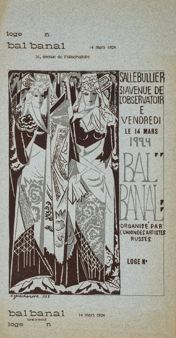 Ballet.- Goncharova (Natalia) Ticket for the Bal Banal,