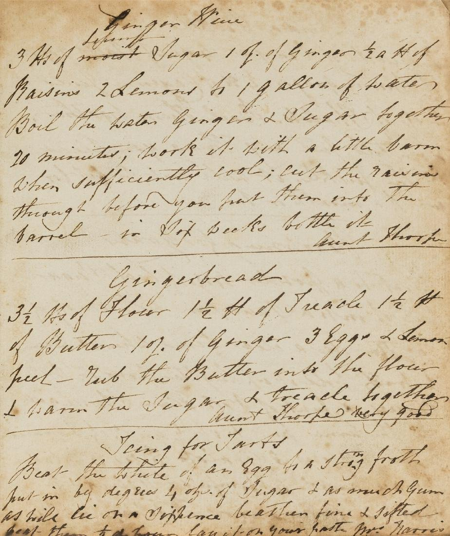 Cookery Recipes.- Collection of recipes, manuscript,