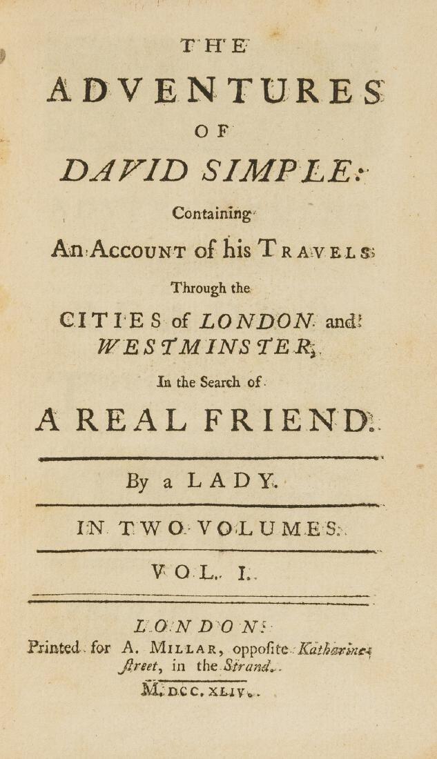 Novel.- Fielding (Sarah) The Adventures of David