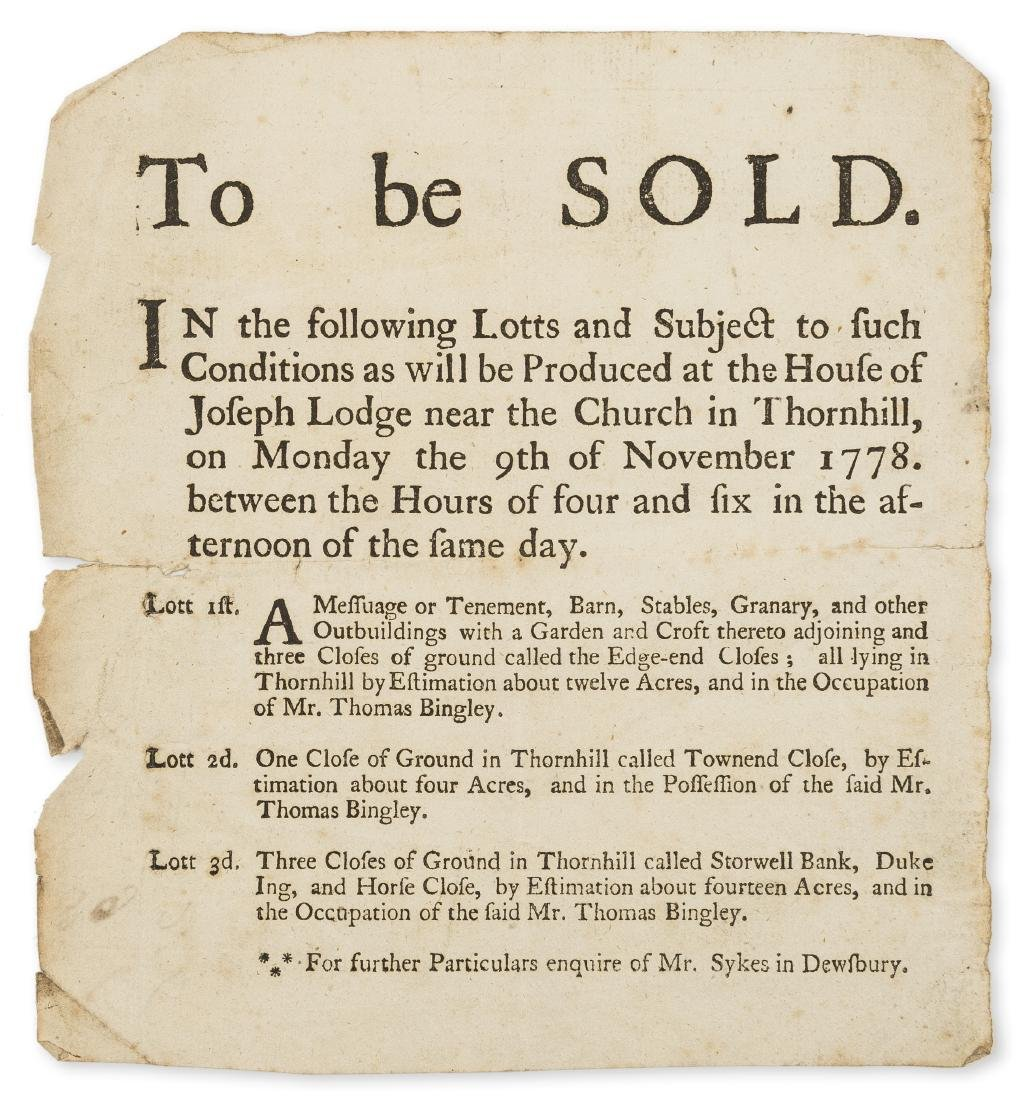 Yorkshire Auction.- To Be Sold... A Messuage or